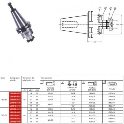 Cone DIN 69871-A, com adaptação - Porta Fresa de facear