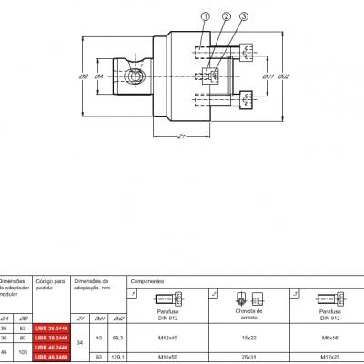 Haste modular, com adaptação Porta Fresa de facear DIN 6357