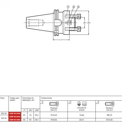 Cone DIN 69871-A, com adaptação Porta Fresa de facear DIN 6357