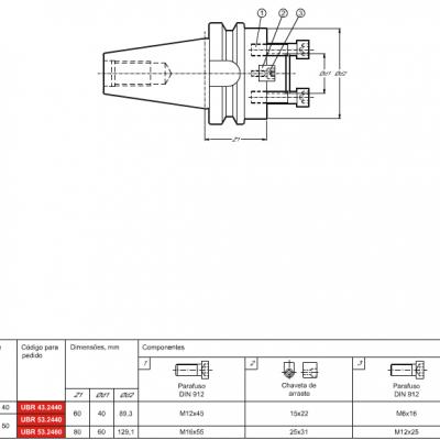 Cone MAS 403 BT, com adaptação Porta Fresa de facear DIN 6357