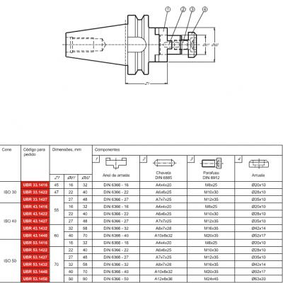 Cone MAS 403 BT, com adaptação Porta Fresa combinado DIN 6358