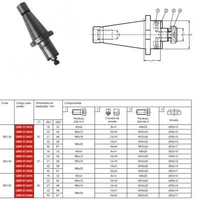 Cone DIN 2080, com adaptação - Porta Fresa de facear