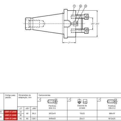 Cone DIN 2080, com adaptação Porta Fresa de facear DIN 6357