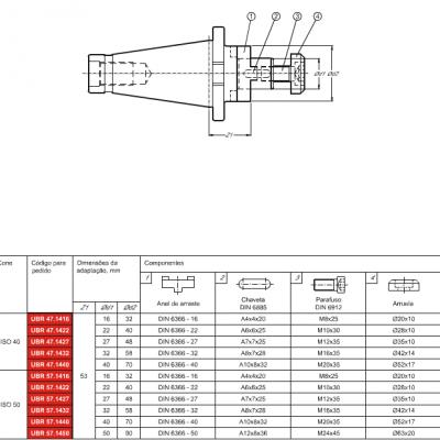 Cone DIN 2080, com adaptação Porta Fresa combinado DIN 6358