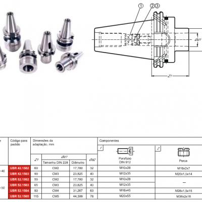 Cone DIN 69871-A, com adaptação - Cone Morse interno DIN 228 - MK - C