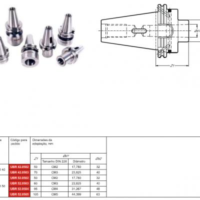 Cone DIN 69871-B, com adaptação - Cone Morse interno DIN 228 - MK - DK