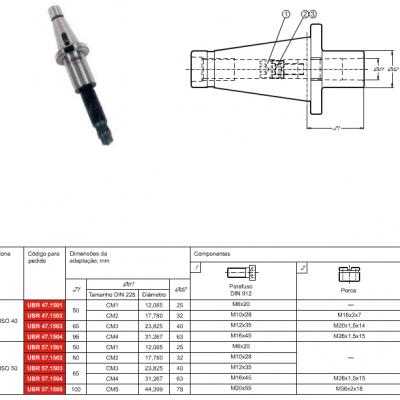 Cone DIN 2080, com adaptação - Cone Morse interno DIN 228 - MK - C