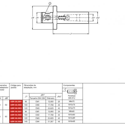 Haste Modular, com adaptação - Cone Morse interno DIN 228 - MK - C e D