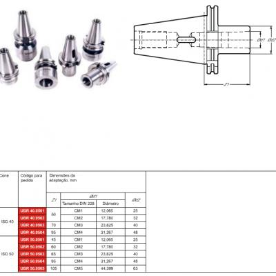Cone DIN 69871-A, com adaptação - Cone Morse interno DIN 228 - MK - D