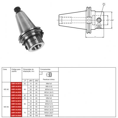 Cone ANSI B5.50 - Métrico com adaptação modular